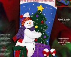 "Bucilla Trimming The Tree ~ 18"" Felt Christmas Stocking Kit #84759 Snowman Gifts DIY"