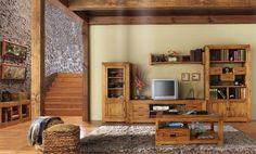 Comedor rústico de madera maciza. Compuesto por 2 vitrinas, mesa tv y mesa de centro. Ideas Para, Bookcase, Sweet Home, Entryway, Shelves, Interior, Furniture, Home Decor, Info