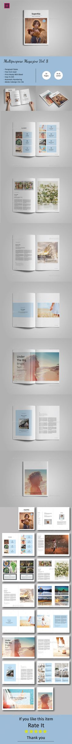 Multipurpose Magazine 30 Pages A4 & US Letter size Template InDesign INDD