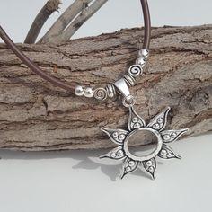 simple beaded Sun Pendant Rubber Kautschuk necklace
