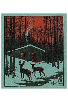 Nature Magazine - View of Deer in the Forest; Winter Scene with a Cabin (12x18 Art Print, Wall Decor Travel Poster) Lantern Press http://www.amazon.com/dp/B00QPYYIKI/ref=cm_sw_r_pi_dp_tMgNwb1SQ35FC
