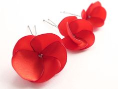 Red Flowers Hair Pins
