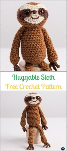 Amigurumi Crochet Huggable Sloth Pal Free Pattern-Crochet Sloth Amigurumi Toy Softies Free Patterns