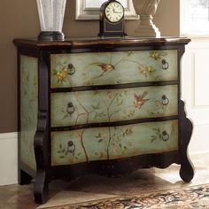 Found it at Wayfair - Hidden Treasures 3 Drawer Accent Chest by Hammary Decoupage Furniture, Hand Painted Furniture, Refurbished Furniture, Paint Furniture, Repurposed Furniture, Shabby Chic Furniture, Furniture Projects, Furniture Making, Furniture Makeover