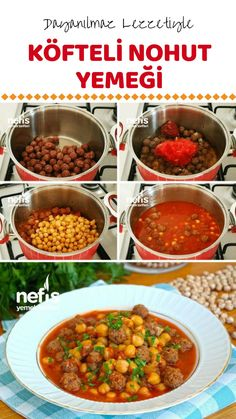 Misket Köfteli Nohut Yemeği (videolu) – Nefis Yemek Tarifleri Sebze yemekleri – The Most Practical and Easy Recipes Good Foods To Eat, Food To Make, Chickpea Recipes, Healthy Recipes, East Dessert Recipes, Turkish Kitchen, Iftar, Turkish Recipes, No Cook Meals