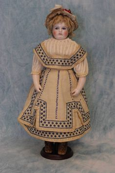 """14"""" Antique Rohmer Doll Orig.Trousseau, swivel head,porcelain arms & from turnofthecenturyantiques on Ruby Lane"""