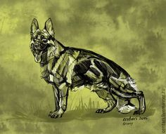 Купить Groovy di Casa Massarelli - хаки, Немецкая овчарка, собака, цифровая графика, Фотошоп