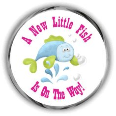 REEL Excited Baby Shower 2 Inch Circle Sticker