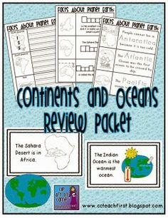 Clip Art by Carrie Teaching First: Continents and Oceans Review Packet
