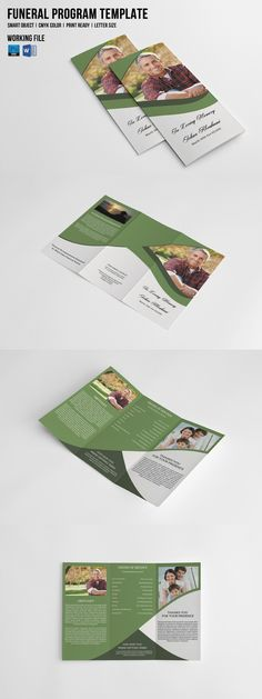 Trifold Funeral Template-V449. Brochure Templates. $9.00