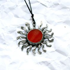 Colored sun stained glass red pendant by ArtKvarta on Etsy, $12.00