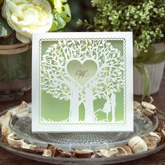 Light Green Laser Cut Tree Wedding Invitations