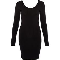 A.O.CMS Black Cotton Long Sleeve T-Shirt Dress ($38) ❤ liked on Polyvore