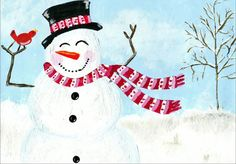 Winter Card Snowman Card  Christmas Card  by ErinDuFraneArt