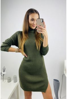 Kaki svetrové šaty s rolákom Sweaters, Dresses, Fashion, Vestidos, Moda, Fashion Styles, Sweater, Dress, Fashion Illustrations