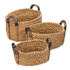 NEW: 3 PIECE SET OF RUSTIC THICK WOVEN CATTAIL STRAW NESTING BASKETS STORAGE! #ForeverGifts