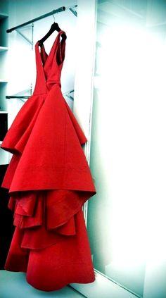 Donna Karan - red wedding dress