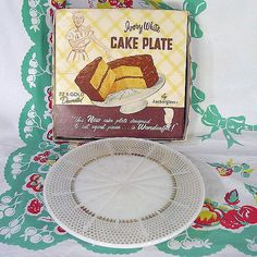 Milk Glass Cake Stand by Fire King, I cannot say no to these. My collection grows and grows. Nice to finally see a box! Vintage Cake Plates, Vintage Glassware, Modern Cookbooks, Anchor Glass, Milk Glass Cake Stand, Cake Decorating Set, Baking Items, Vintage Baking, New Cake