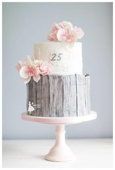 Rustic 25th anniversary wedding cake by Taartjes van An (Anneke) - http://cakesdecor.com/cakes/271908-rustic-25th-anniversary-wedding-cake