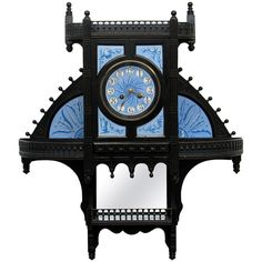 unusual Aesthetic Movement ebonized wood wall clock ~ ceramic dial attributed to Lewis Day