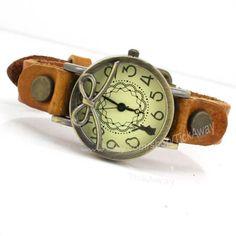 Orange leather bracelet watch lady wrist watch women leather watch girl wristwatch retro style watch Christmas gift T#058