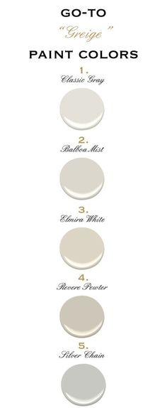 Greige Paint Colors, Benjamin Moore currently have revere pewter in the living room and LOVE IT! was considering classic gray for the rest of the house, but may change it to revere pewter as well. Greige Paint Colors, Kitchen Paint Colors, Interior Paint Colors, Paint Colors For Home, Wall Colors, House Colors, Paint Colours, Interior Design, Gray Paint