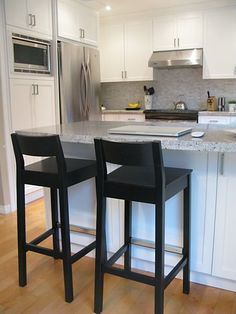 Kitchen bar stools. Black, wooden? With chair back.
