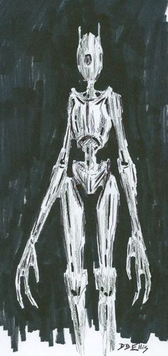 ROBOT  original science fiction sketch, sci fi art,  by David B. Ellis
