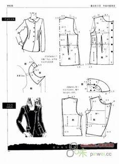 Cuellos y Escotes.             Molde Barbie Patterns, Coat Patterns, Clothing Patterns, Dress Patterns, Sewing Patterns, Jacket Pattern, Top Pattern, Textile Manipulation, Sewing Blouses