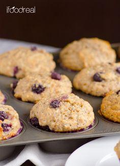 Healthy Lemon Blueberry Muffins made with whole wheat flour, chia seeds, vanilla yogurt, blueberries and fresh lemons.