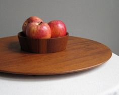 Circular Dansk Teak Tray and Center Bowl - Jens Quistgaard, IHQ, Made in Denmark 1950s Mid Century Modern Wood