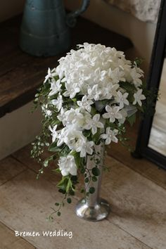 Stephanotis with pearl centres Whimsical Wedding Flowers, Cascading Wedding Bouquets, Cascade Bouquet, White Wedding Flowers, Bride Bouquets, White Flowers, Floral Wedding, Boquet, Green Centerpieces