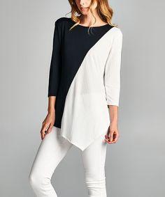 Look at this #zulilyfind! Black & White Colorblock Asymmetrical Top #zulilyfinds