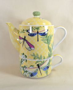 Dragonfly Tea for one Teapot and cup Set Porcelian:)::)