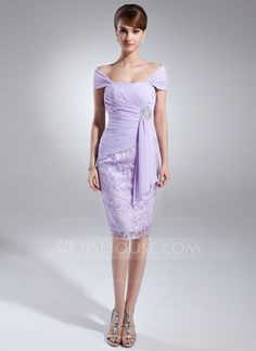Sheath/Column Off-the-Shoulder Knee-Length Beading Cascading Ruffles Zipper Up at Side Cap Straps Sleeveless No Lilac Spring Summer Fall General Plus Chiffon Lace Mother of the Bride Dress