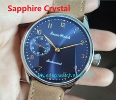 Sapphire crystal 2017 new fashion PARNIS 44mm blue dial 6497 Mechanical Hand Wind movement men's watch wholesale #Affiliate