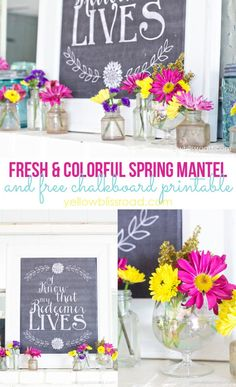 Spring Mantel and a Chalkboard Printable for Easter - Yellow Bliss Road