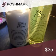 Philosophy Falling in love duo Falling in love oil spray 5.8 oz and lotion 8 oz both new not opened Philosophy Makeup