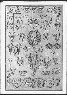 Cross stitch monograms, borders and ornaments, many in Art Nouveau style.   (visit site for bigger picture)  Gracieuse. Geïllustreerde Aglaja, 1912, aflevering 16, pagina 16