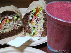 Sonoma Chick'n Sandwich with Berry Blast Smoothie, Chef Kyle Domer, Phoney Baloney's (Irvine, CA but now closed) #vegan