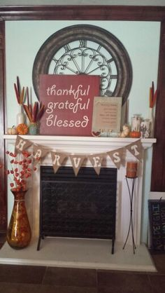 Fall mantle... Love the wooden sign