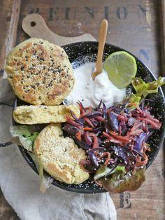 """Petits """"pains"""" express à la farine de riz et de pois chiche  ( Sans gluten, Vegan )"""