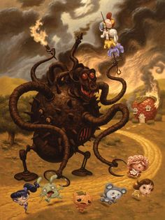Todd Schorr - 2005 - Sweet Tooth (acrylic on canvas) Baphomet, Dark Fantasy Art, Dark Art, Surreal Artwork, Lowbrow Art, Weird Art, Outsider Art, Psychedelic Art, Horror Art