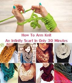 How To Arm Knit An Infinity Scarf In Only 30 Minutes - video #crafts, #knitting,