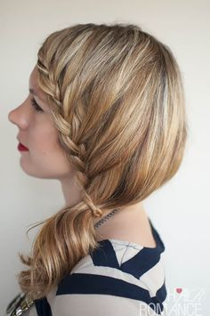 Hair Romance - Lace Braid Side Ponytail Hairstyle (would never wear this style with it all down, but like the ponytail version)