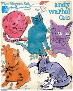 Andy Warhol, cats fridge magnets, bought at Andy Warhol retrospective… Andy Warhol Art, Pop Art Movement, Gallery Of Modern Art, Cat Sketch, Cat Colors, Cat Paws, Pretty Cats, Famous Artists, American Artists