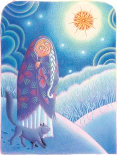 'Babushka looked up at the star. The star looked down at Babushka.' Illustration by Amanda Hall. Yule, Cool Art, Fun Art, The Good Witch, Female Hero, Book Signing, Book Images, Winter Solstice, Red Riding Hood