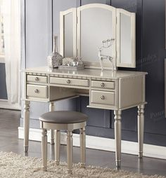 Christine Makeup Dressing Table Set Shopping for a chic vanity table set? Checkout the Christine Silver Makeup Dressing Table Set at discounted price. Mirrored Vanity Table, Vanity Table Set, Wooden Vanity, Vanity Set With Mirror, Vanity Stool, Dresser Table, Antique Vanity, Mirror Mirror, Wood Makeup Vanity