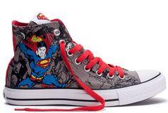 Nieuwste Superhero DC Comics Superman Converse Chuck Taylor All Star High Tops Canvas Sneakers rode grijze wolk 132 441 Sale