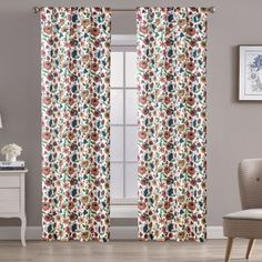 """Aubrie Home Accents Bannock 2 Panel Pair of 84"""" Floral Print Window Curtains in Pink Window Curtains, Home Accents, Pink Yellow, Window Treatments, Floral Prints, Windows, Living Room, Green, Color"""
